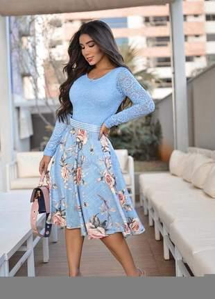 Vestido midi moda evangelica azul serenity