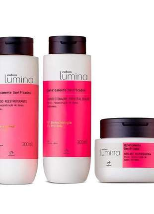 Sistema de tratamento de cabelos quimicamente danificados lumina