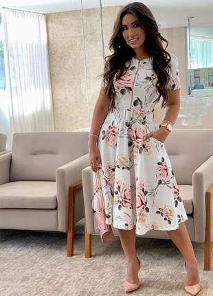 Vestifo midi floral moda evangelica