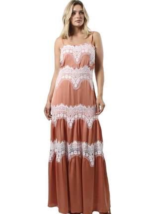 Vestido longo crepe- 18038