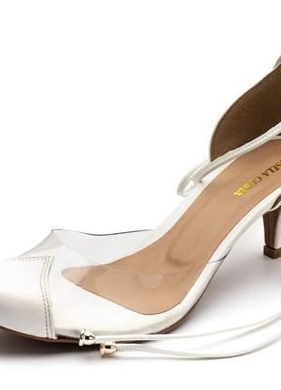 Sapato scarpin salto baixo transparente amarrar na perna