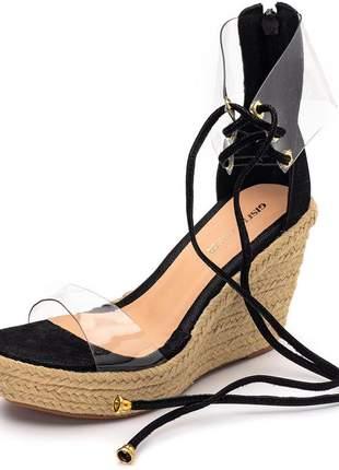 Sandália anabela tira transparente salto medio amarrar na perna preta