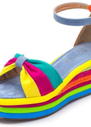 Sandália anabela camurça colorida azul bb salto medio
