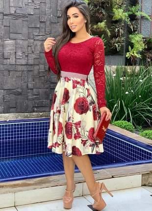Vestido vermelho midi moda evangelica