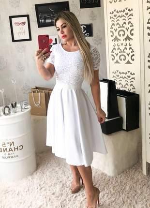 Vestido midi branco moda evangelica casamento civil noivado