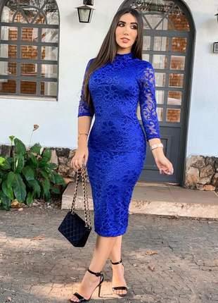Vestido midi moda evangelica azul royal azul escuro