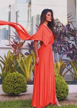 Vestido longo laranja multi formas de usar com fenda frontal.