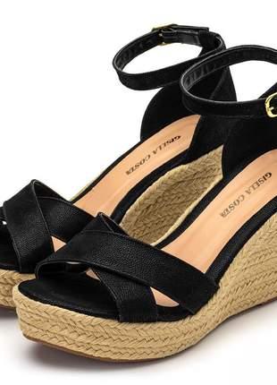 Sandália anabela feminina tiras cruzadas salto médio corda
