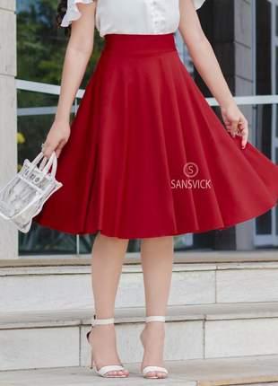 Saia midi gode rodada moda evangélica vermelha