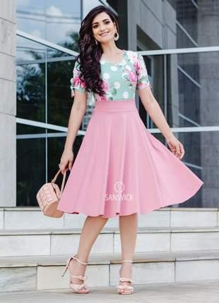 Saia midi gode rodada moda evangélica rosa nude