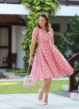 Vestido princesa godê bolinhas poá rose