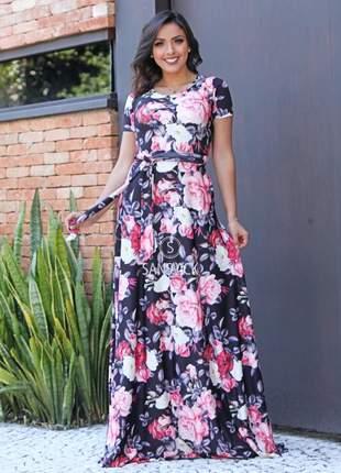 Vestido longo estampado digital floral verão 2020