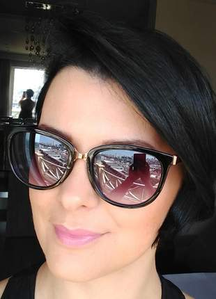 Óculos de sol feminino classic degrade com case e flanela verão 2020 lançamento