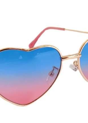 Óculos de sol feminino infantil formato coração + estojo e flanela
