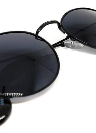 Óculos de sol feminino redondo moda retro + estojo e flanela