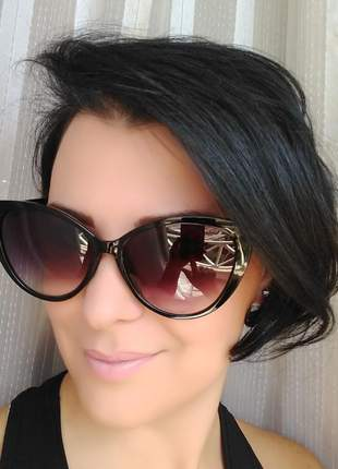 Óculos de sol feminino gatinho cat eye com estojo e flanela