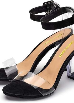 Sandália salto alto tira transparente e salto grosso transparente