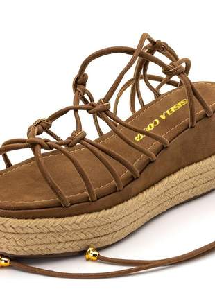 Sandália anabela salto médio chocolate corda amarrar na perna