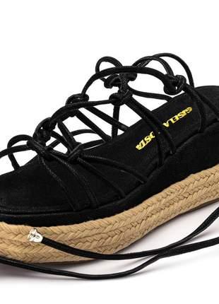 Sandália salto baixo corda preta amarrar na perna