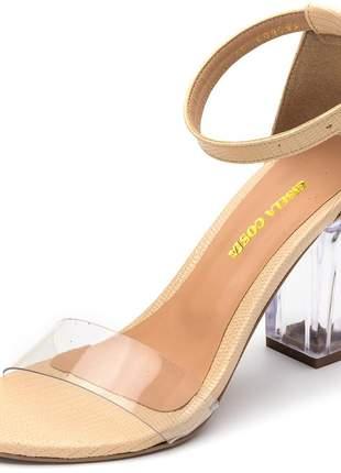 Sandália salto alto amendoa tira transparente e salto transparente fivela