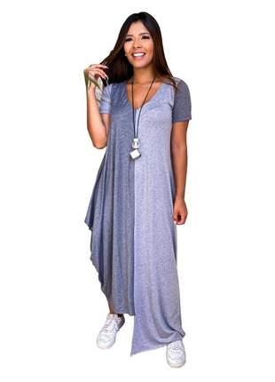 Vestido comfy basics maxi saruel assimétrico bicolor com manguinhas.