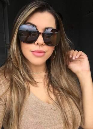 Óculos feminino quadrado estampa onça - proteção uv