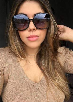 Óculos feminino quadrado preto - proteção uv