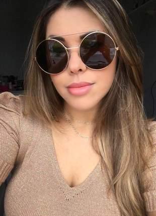 Óculos feminino redondo retrô dourado - proteção uv