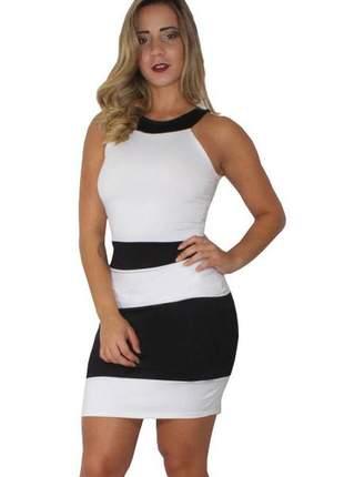 Vestido tubinho preto e branco