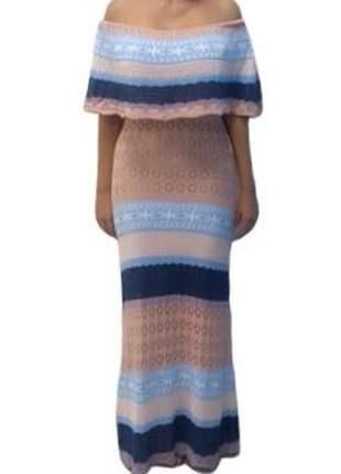 Vestido ciganinha tricot degradê decote babado