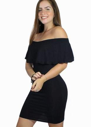 Vestido social ombro a ombro com babado