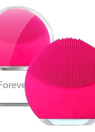 Esponja de limpeza facial massageadora de silicone - rosa pink