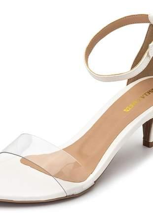 Sandália social feminina salto baixo fino transparente branca fivela