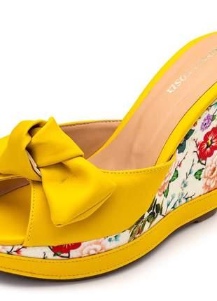 Sandália tamanco amarelo laço salto plataforma floral primavera