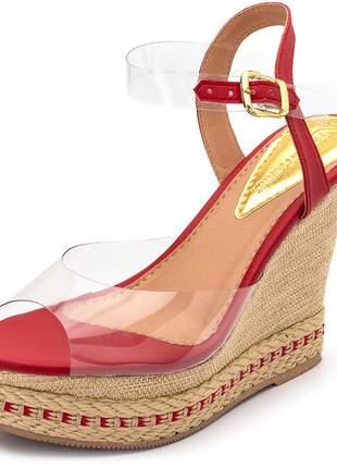 Sandália anabela feminina transparente salto em juta detalhe vermelho