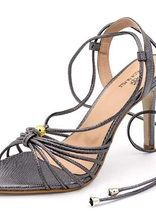 Sandália social feminina onix salto fino amarrar na perna