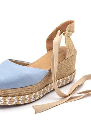 Sandália anabela feminina salto baixo azul bebe e juta amarrar na perna