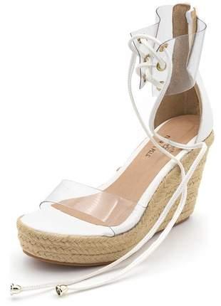 Sandália anabela salto medio tira transparente branca corda