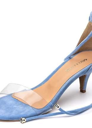 Sandália social tira transparente amarrar na perna azul bebe