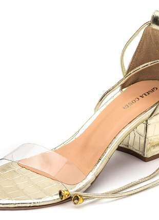 Sandália feminina tira transparente salto grosso dourada amarrar na perna