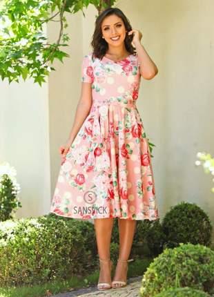 Vestido midi godê moda princesa poá flores clássico estampado