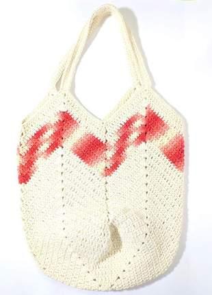 Bolsa crochê estilo sacola peça única