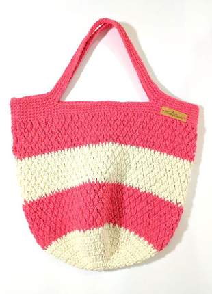 Bolsa crochê listrada estilo sacola peça única