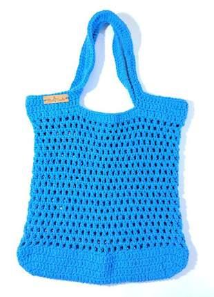 Bolsa crochê azul estilo sacola peça única