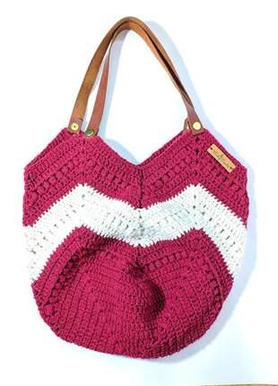 Bolsa tricot estilo sacola listrada alça couro peça única