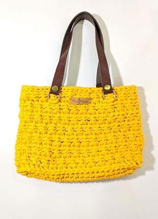 Bolsa crochê fio de malha amarela estilo sacola alça de couro peça única