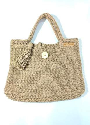Bolsa crochê bege estilo sacola peça única