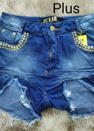 Shorts jeans cintura alta plus size da julie