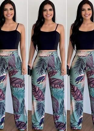 Conjunto maravilhoso cropped e calça pantalona