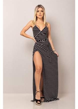 Vestido envelope sereia - black striped